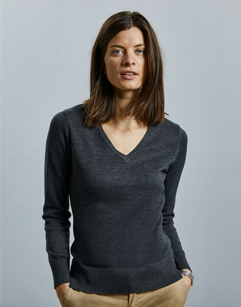 Photo of 710F Ladies' V-Neck Knitted Pullover