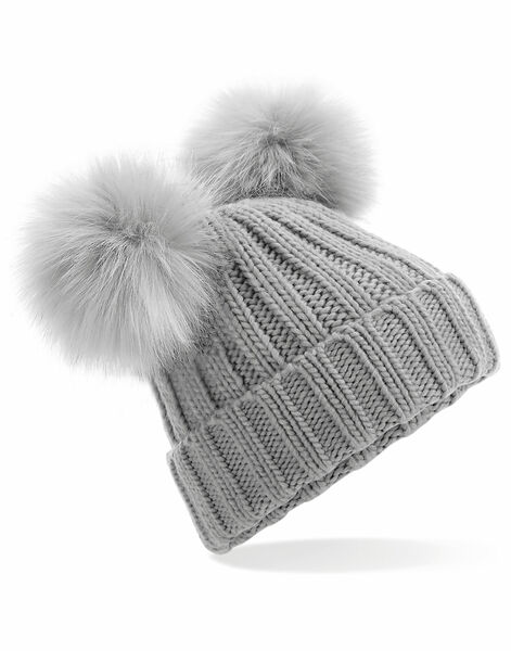 Photo of B414 Beechfield FauxFur Double Pop Pom Beanie